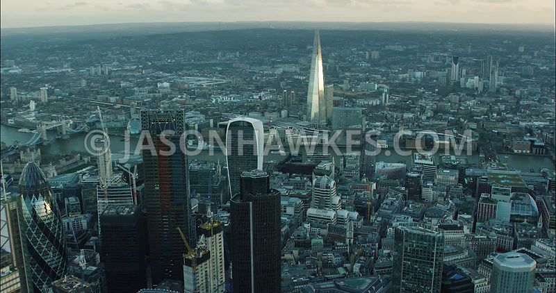 London Aerial Footage City of London  Financial District skyline