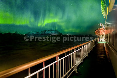 Aurora Borealis at Sea in Vågan, Nordland Municipality