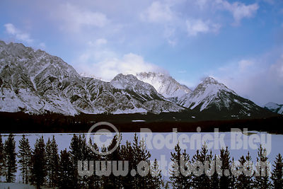 Snow Capped Mountains behind Spray Lakes