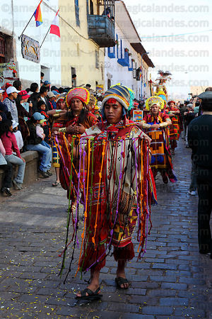 Inca official carrying knotted strings or quipus during processions for Inti Raymi festival , Cusco , Peru