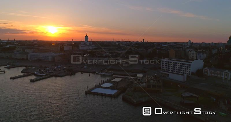 Sunset City, Aerial Sideway View of the South Harbour, the Cathedral and the Market Square , on a Sunny Summer Evening Dusk, in Helsinki, Uusimaa, Finland