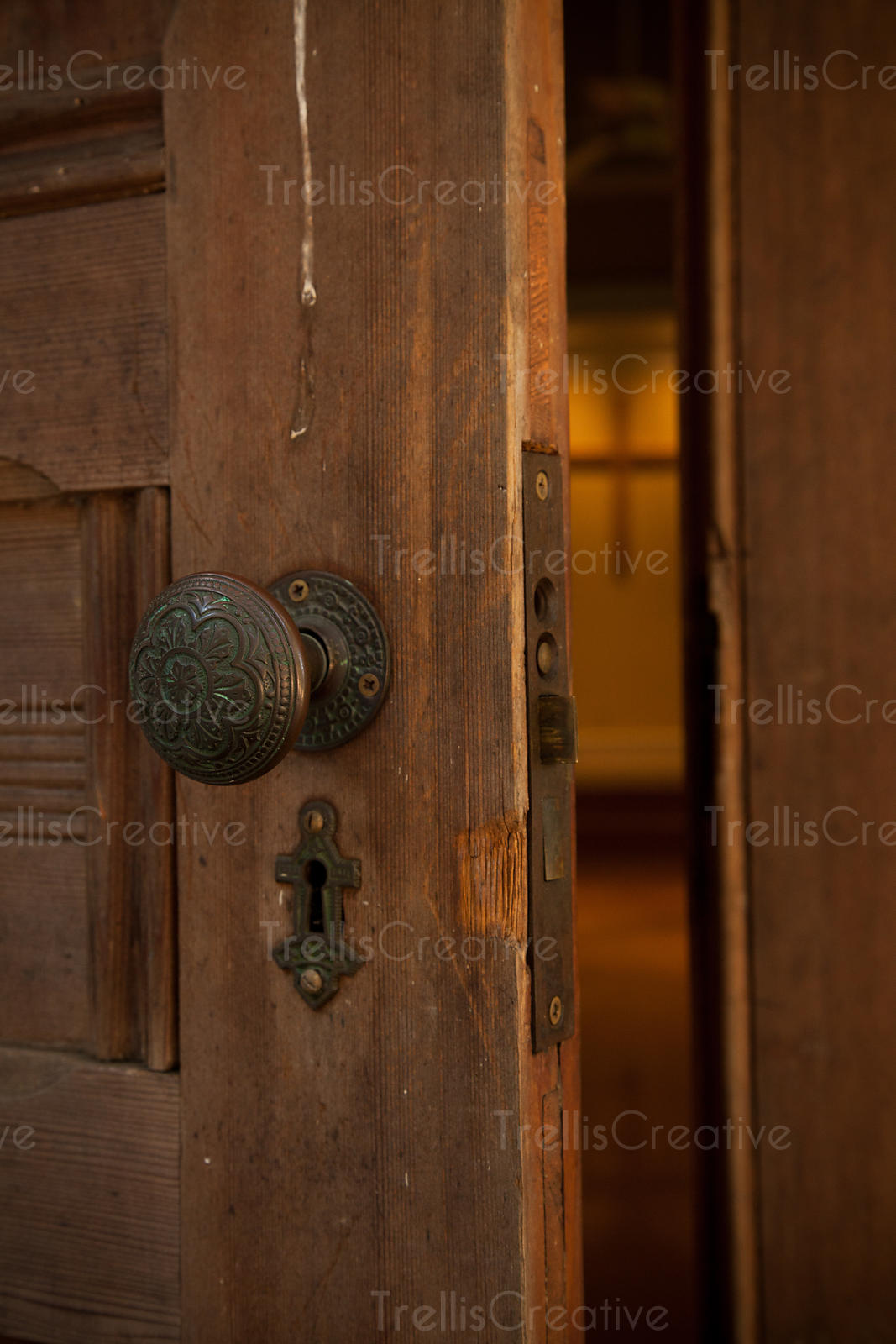 Old ornate doorknob and keyhole on a wooden door