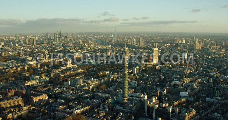 Aerial footage of the BT Tower, Fitzrovia and the surrounding areas of London