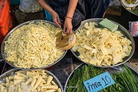 Bamboo shoots for sale at Damnoen Saduak Floating Market in Damnoen Saduak District, Ratchaburi province, about 109 kilometers south of Bangkok.