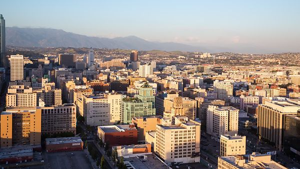 Bird's Eye: Shadows & Fading Mountain Ranges Over Downtown L.A., (Day to Night)