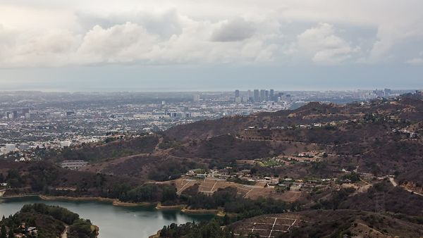 Bird's Eye - Storm Clouds Building Over L.A. Landscape & Hollywood Reservoir