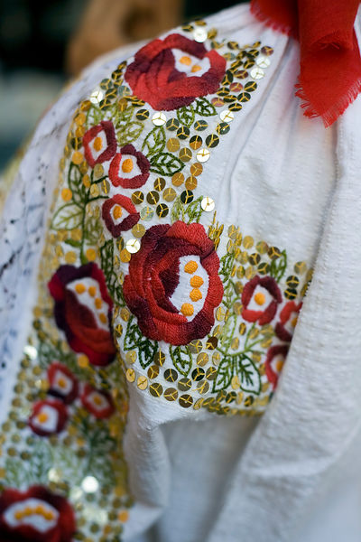 Hungary - Pecs - Detail of a traditional costume