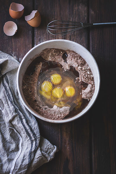 Eggs and cocoa mixture in a bowl