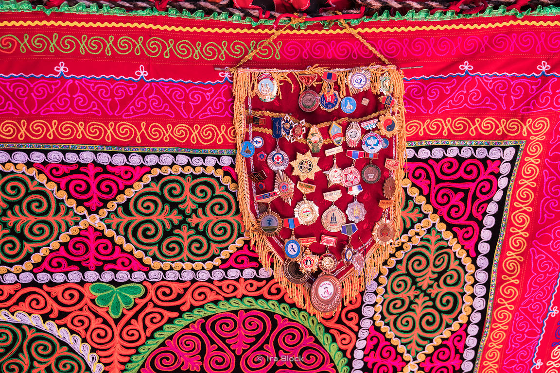 Medals hanging in a ger or yurt in Ölgii, the capital of the Bayan-Ölgii Aimag of Mongolia, located in the far west of Mongolia.