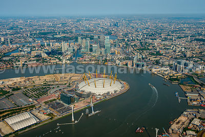 Aerial view of Greenwich and Canary Wharf, London
