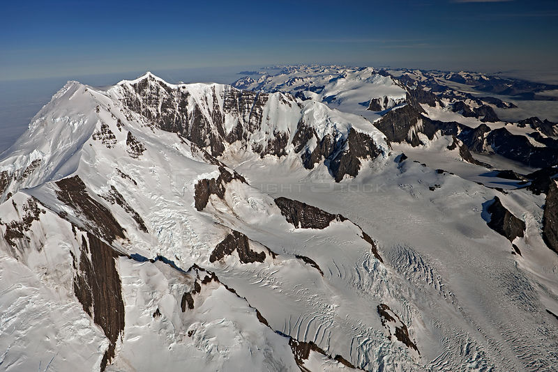 Aerial view of Mount Paget (highest mountain on South Georgia, 9565 feet, 2934m) with Allardyce Mountain Range, South Georgia, March 2011