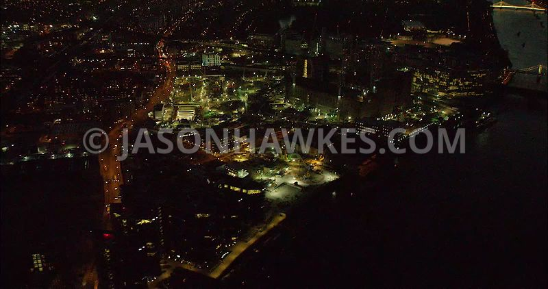 London Aerial Footage Nine Elms at night.