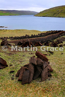Freshly cut peat, stacked for drying, Ronas Voe, Northmavine, Shetland