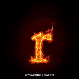 fire alphabets, small letter r