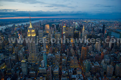 Nighttime aerial view of Midtown Manhattan, looking north up Madison Avenue, New York City