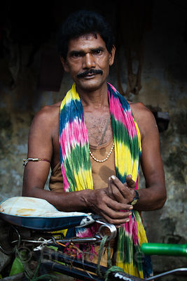 Portrait of a man on Strand Road, Kolkata, India.