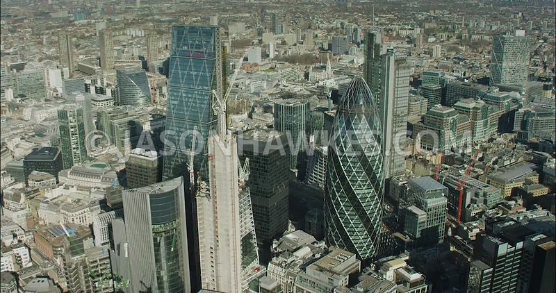 London Aerial Footage of City of London skyline close up