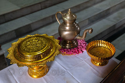 Gold ornaments in a temple in Sarnath, India