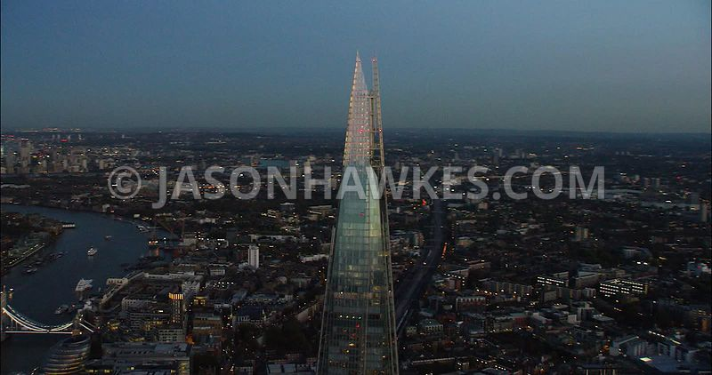 London Aerial Footage of The Shard at night.