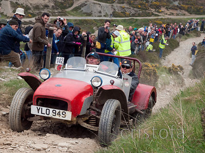 an Austin Healey climbs the steep Blue Hills section of the MCC Land's End Trials
