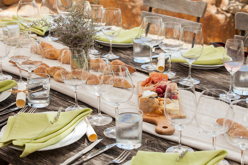 Styled table setting with food for commercial advertising shoot by Napa Valley photographer Jason Tinacci