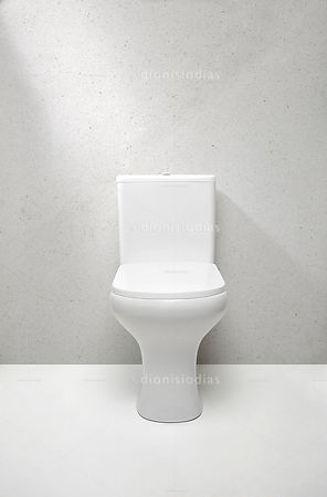 Toilet bowl  without seat in front view isolated on white background
