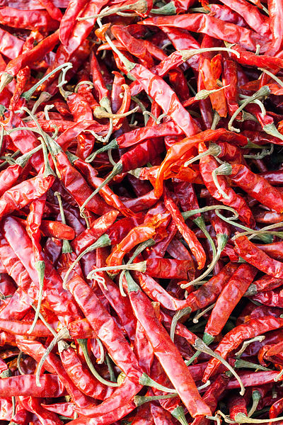 India - Delhi - Red chillies in the spice market