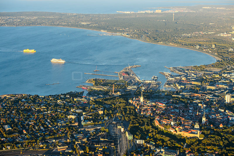 Aerial view of bay and port of Tallinn, capital of Estonia, October 2013.