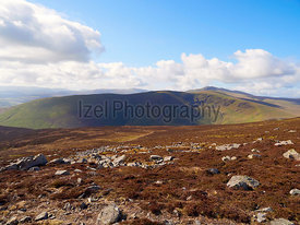 Views of Bowscale Fell and Blencathra from the summit of Carrock Fell in the English Lake District, UK.