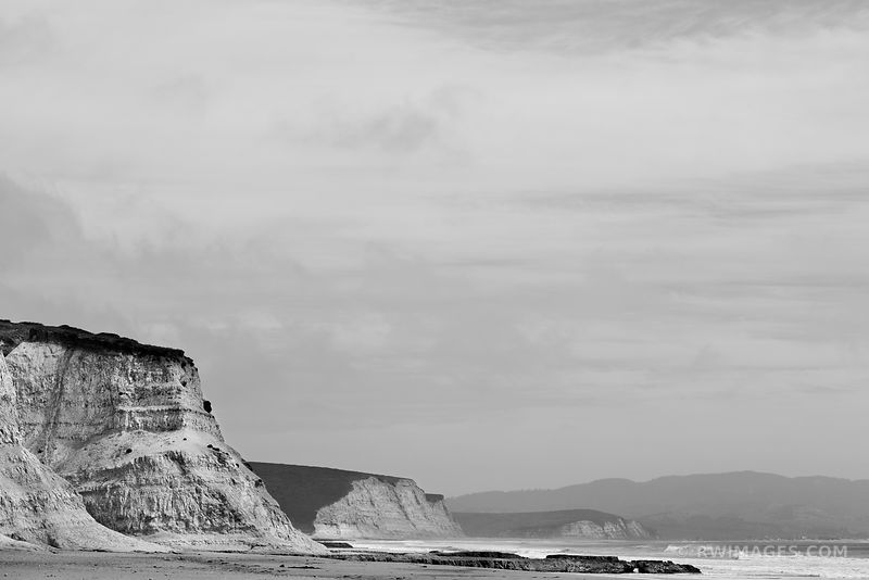 CLIFFS DRAKES BEACH POINT REYES NATIONAL SEASHORE CALIFORNIA BLACK AND WHITE