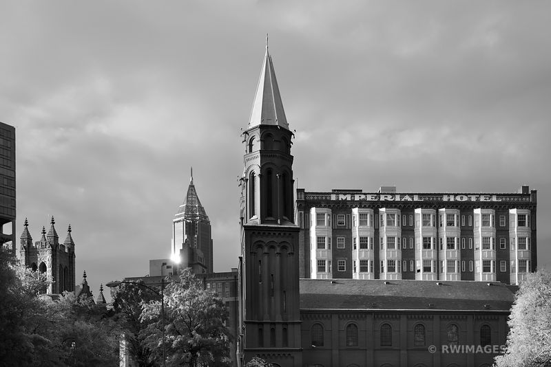 CHURCH OF THE SACRED HEART OF JESUS AND IMPERIAL HOTEL ATLANTA GEORGIA BLACK AND WHITE