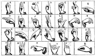 Engraving of manual alphabet or sign language