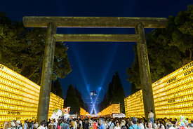 "Mitama Festival at Yasukuni Shrine in Tokyo.  ""Mitama"" means ""the soul of a dead person"" in Japanese.  The Yasukuni Shrine is dedicated to the honoring of the souls of those who gave their lives to defend Japan."