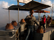 roasting chestnuts on Funchal's waterfront