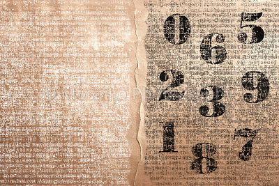 vintage numbers on ancient beige paper -