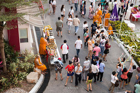 People and monks at Wat Yan Nawa during Magha Puja, an important Buddhist festival celebrated on the full moon day in Bangkok, Thailand.
