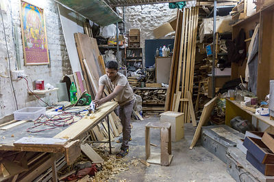 Mukesh, the in-house carpenter that makes much of the furniture and infrastructure at Champa Gali