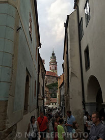 The narrow streets of Cesky Krumlov