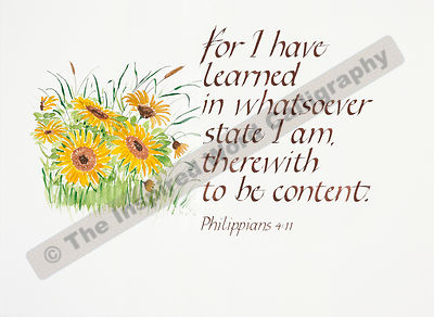 For I have learned… - Philippians 4:11 - in hand lettered calligraphy and hand drawn art - IWC Item:   1157L