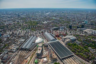 Aerial view of King's Cross St. Pancras Station, London