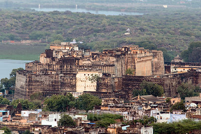 Elevated view of Phool Mahal fort, Kishangarh, Rajasthan, India