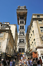 The Santa Justa Lift designed by the Engineer Raul Mesnier de Ponsard, dating back to 1902. Lisbon, Portugal