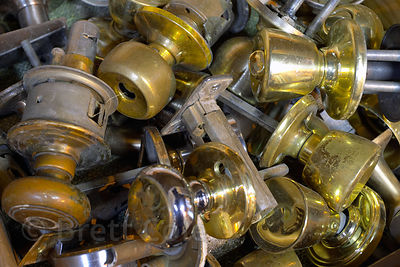 Used doorknobs at a community recycling facility in Eugene, Oregon.