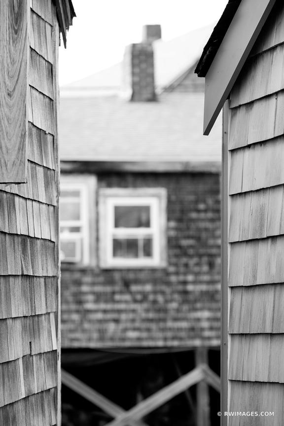 ROCKPORT FISHING VILLAGE CAPE ANN MASSACHUSETTS BLACK AND WHITE VERTICAL