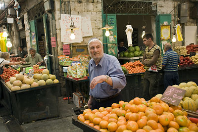 Israel - Jerusalem - Shoppers at the Mahane Yahuda Market