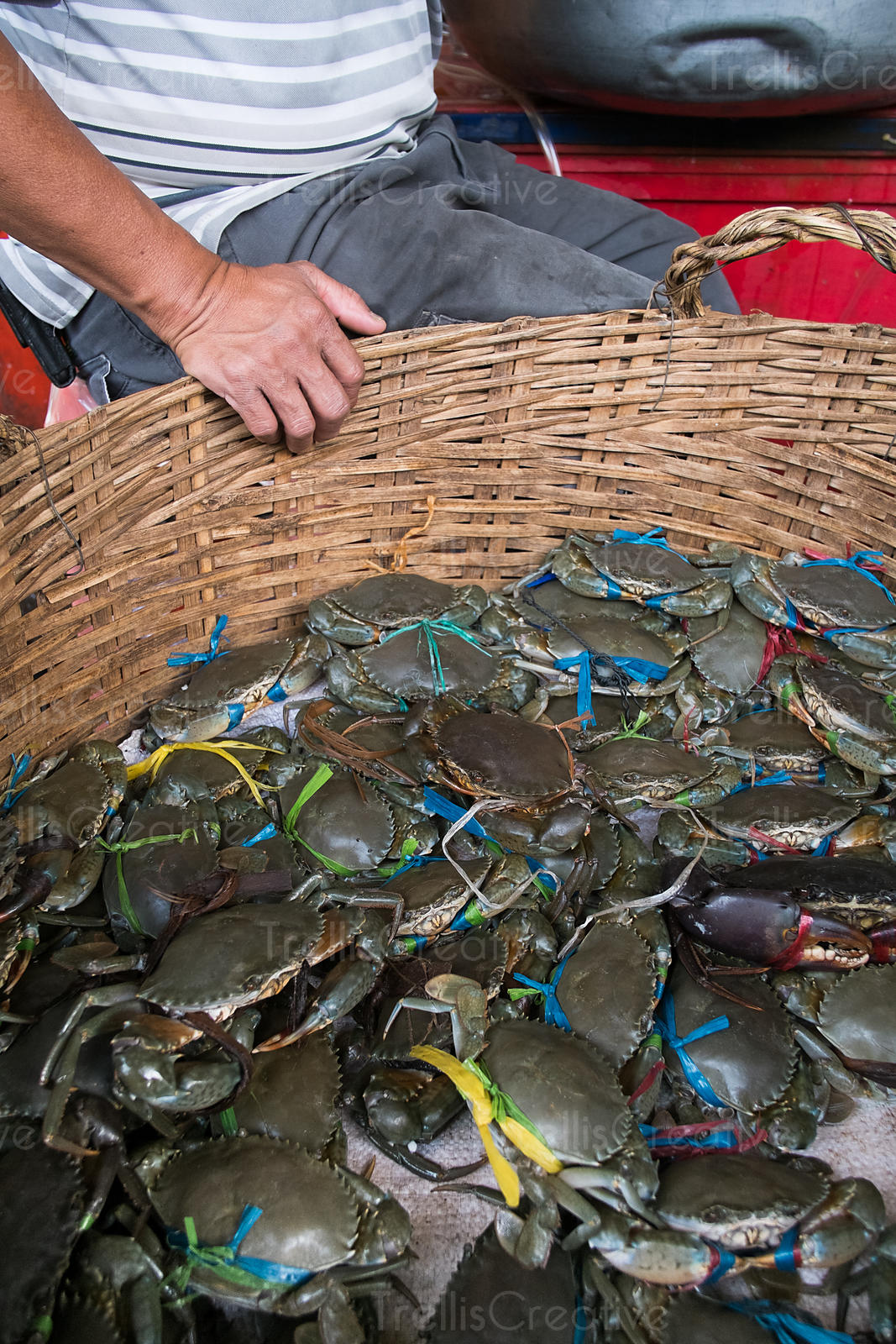 Man sells fresh caught crabs at a fish market