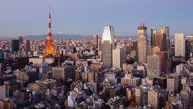 Wide Shot: Sunrise Over Tokyo, Tokyo Tower, & Mount Fuji