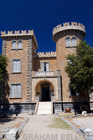 Bellenis Tower home of the Historic and Folklore Museum, Alinta, Leros, Dodecanese Islands, Greece.