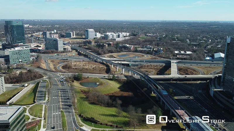 Tysons, Virginia, USA. Dolly towards the Capital Beltway interchange with Chain Bridge Road.