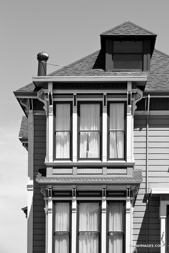 SAN FRANCISCO HISTORIC ARCHITECTURE ALAMO SQUARE BLACK AND WHITE
